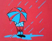 Child with Umbrella, Weather, Muddy Cuddles, Original Hand Finished Graphic Screenprint, Blue, White & Black on Red, Statement Art Print,