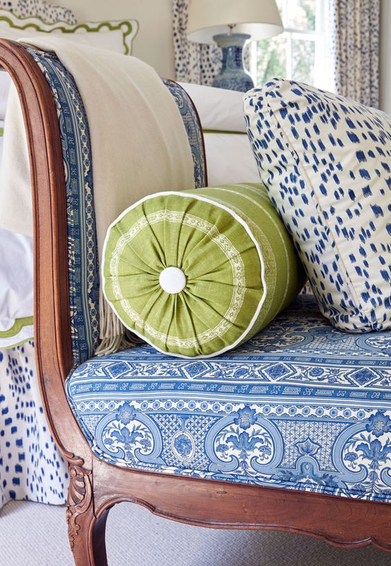 Traditional daybed with beautiful mix of blue prints and bright green accent. Sarah Bartholomew Traditional Colorful Decor.