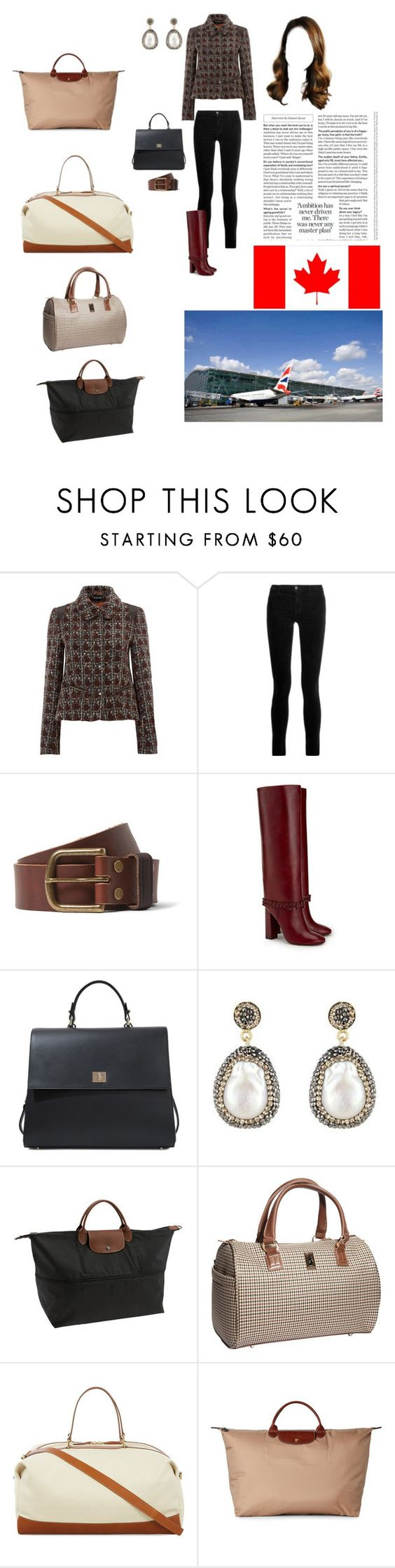"""""""Travelling to Ottawa for attending the Davis Cup First Group via Heathrow"""" by theduchessroyal ❤ liked on Polyvore featuring J Brand, Jean Shop, Tory Burch, HUGO, Soru Jewellery, Longchamp, London Fog and Globe-Trotter"""