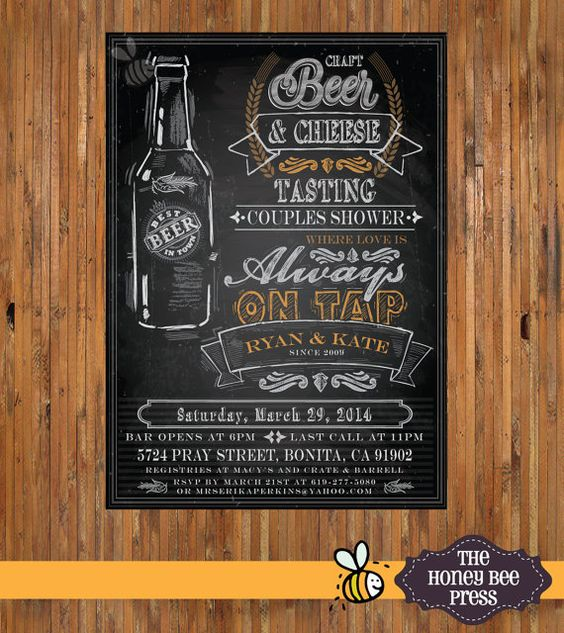 Beer Tasting Party Invitation - Beer Couples Shower Invitation - Chalkboard Beer Invitation - Item 0154 on Etsy, $18.00