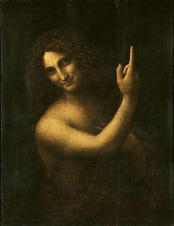 San Giovanni Battista Autore Leonardo da Vinci Data 1508-1513 Tecnica olio su tavola di noce Dimensioni 69 cm × 57 cm  Ubicazione Musée du Louvre, Parigi: