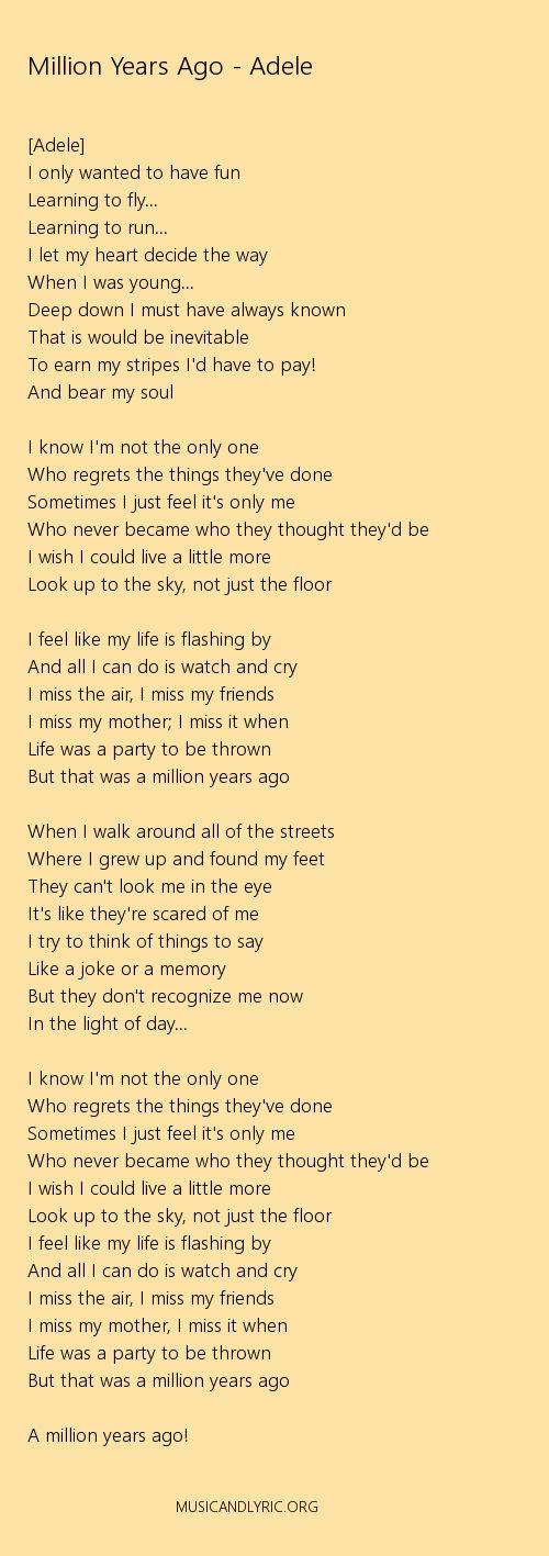 Adele Million Years Ago Lyrics Pdf Musicandlyrics Adele Songs Lyrics Adele Lyrics Adele Songs