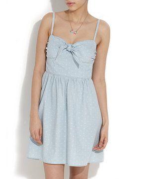 Blue Pattern (Blue) Denim Spot Bow Detail Dress | 253095749 | New Look