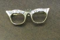 Vintage Rhinestone Cat Eye Glasses Brooch Pin