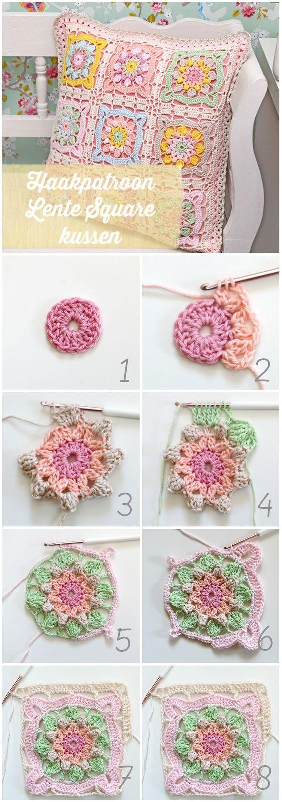Spring square cushion  Free crochet pattern Lente square kussen  Gratis haakpatroon:
