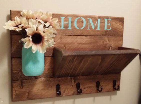 Rustic Home Decor Rustic Wall Decor Mail Holder Rustic Key Holder Home Sign Housewarming Gift Wedding Gift Rustic Decor Cheap Home Decor Easy Home Decor Rustic Home Decor