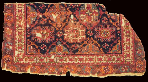 Small pattern Holbein carpet fragment, XVI century, Ottoman Empire, Western Turkey. Berlin Museum. purchased in 1879