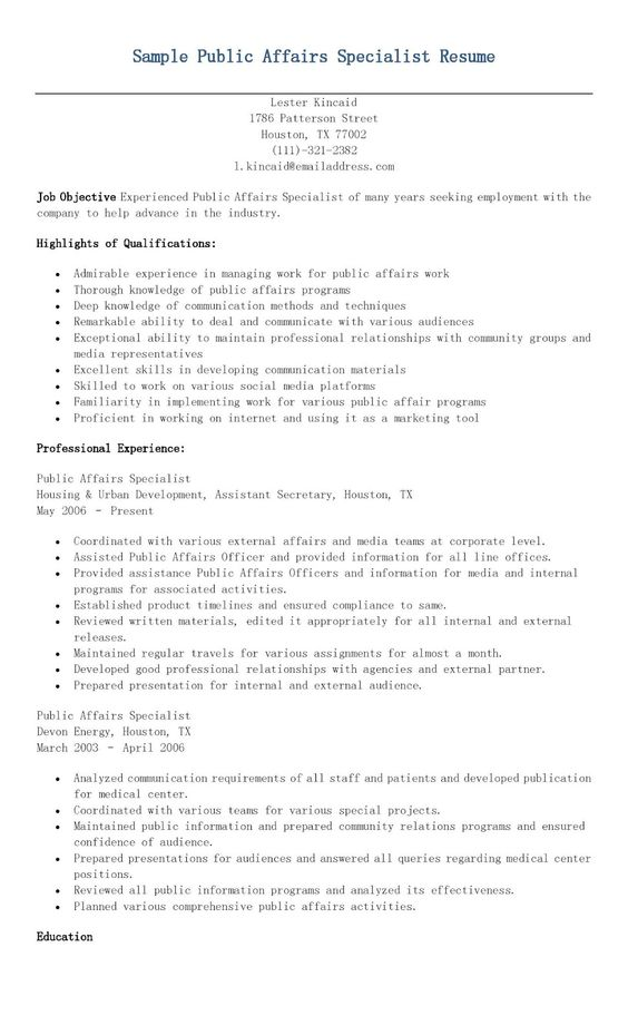 Sample Regulatory Affairs Specialist Resume resame Pinterest - public information specialist sample resume