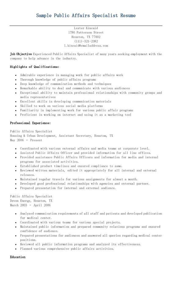 public relation specialist resume