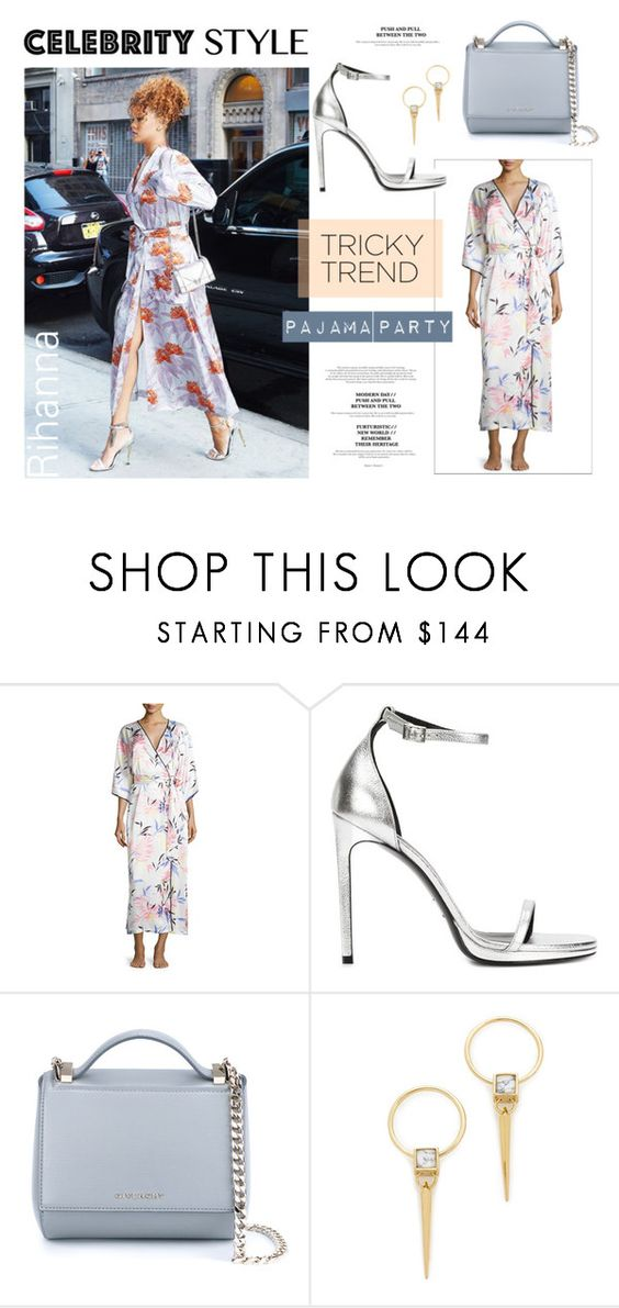 """""""Rihanna's Pajama"""" by akchesunel ❤ liked on Polyvore featuring Oscar de la Renta, Yves Saint Laurent, Givenchy, Alexis Bittar, TrickyTrend, Rihanna and CelebrityStyle"""