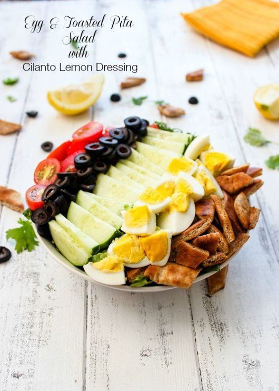 Egg & Toasted Pita Salad with Cilantro Lemon Dressing