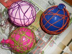Basteln mit Wolle, basteln für Ostern, Kugeln aus Wolle basteln, Basteln mit Luftballons, Dekokugeln, Ostern