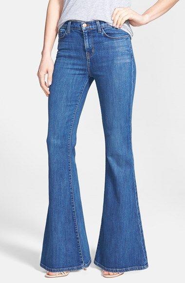 J Brand 'Valentina' Mid Rise Flared Jeans (Sail) available at #Nordstrom. NEEEEEEEEED