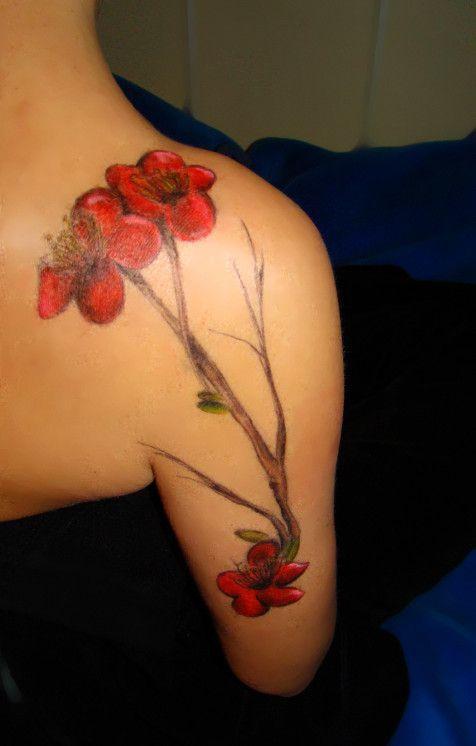 Red cherry flowers tattoo
