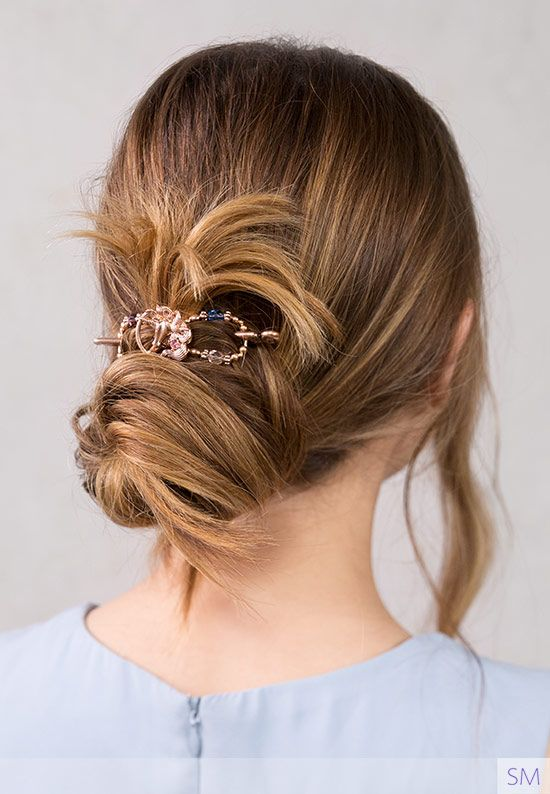 Messy Bun Hairstyle With A Beautiful Rose Gold Colored Unicorn Hair Clip With Colorful Beads She Unique Hair Accessories Messy Bun Hairstyles Beautiful Braids