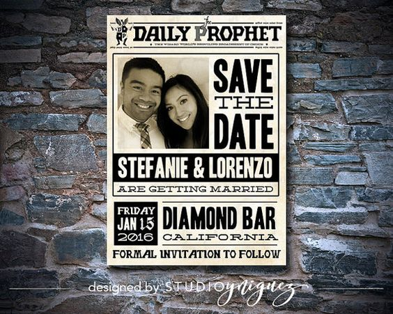 Harry Potter Daily Prophet Save the Date by StudioYniguez on Etsy