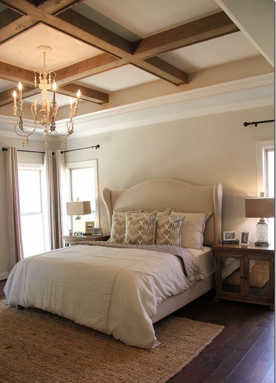 Beamed Tray Ceiling So Pretty Love The Chandy Too Master Bedroom Remodel Master Bedroom Ceiling Ideas Remodel Bedroom