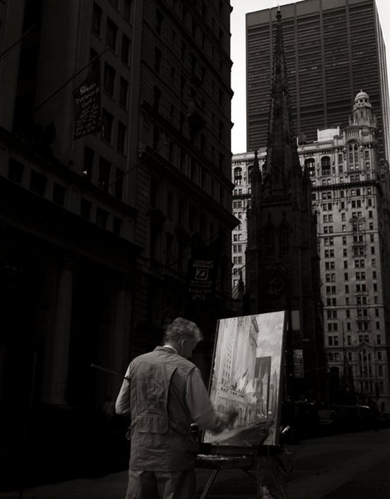 black and white, artist at work, oil painting, new york city  Photographic Print. Editions of 50 in each by KeithColemanPhoto