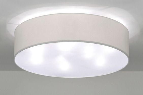 Plafondlamp ronde stoffen lampenkap wit . Woonkamer eettafel keuken ...