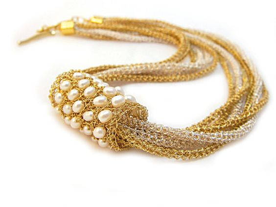 Wearable Art Wire Crochet Jewelry Modern Necklace Collar Gold Silver White Pearl Versatile Jewelry Israeli