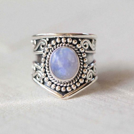 Rainbow Moonstone Ring Boho Ring Moon Ring Gypsy by DonBiuSilver