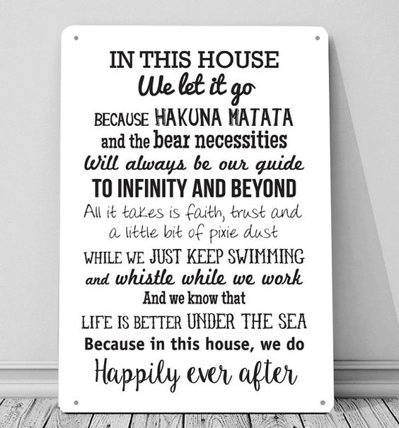 In this House we do Disney inspired quotes sign A4 metal plaque picture home deco Kitchens  Printed aluminium metal plaque. Would look great in any
