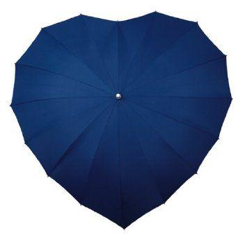 Heart shaped navy blue umbrella