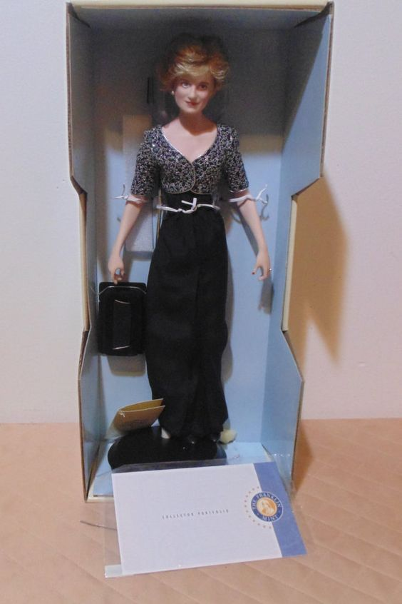 franklin mint porcelain princess diana doll black long dress/w silver Jackie by DeeLifeShop on Etsy