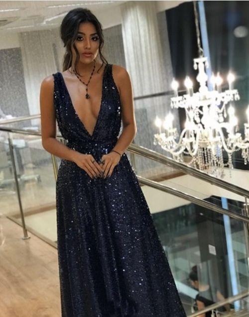 Vestidos Longo Madrinha Formatura Azul Royal Paetê
