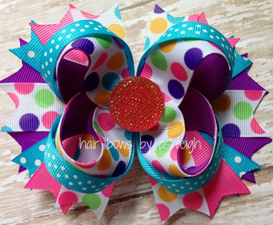 Multi-colored Dots Stacked Hair Bow  Purple by HairBowsByAshleigh