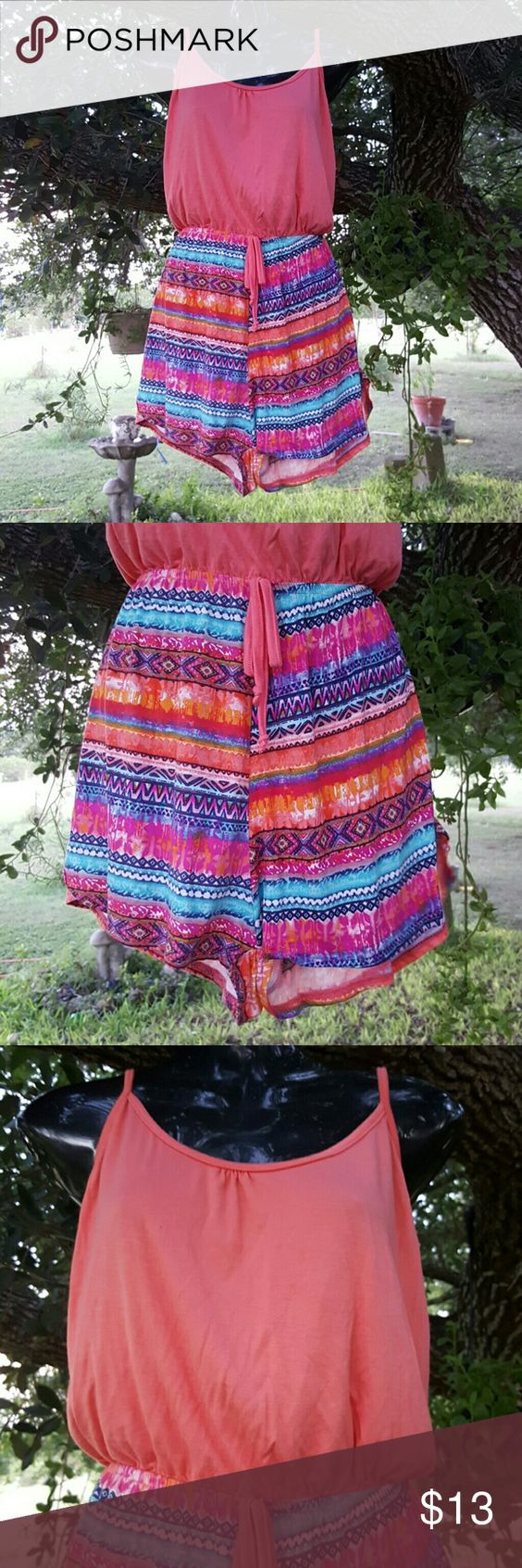 "Cute Colorful Romper Shorts This a very colorful romper in pink the top part and multicolor de part of the shorts. Size XL From the part of the top of the breast to the bottom of the shorts is 24"". Rue 21 Other"