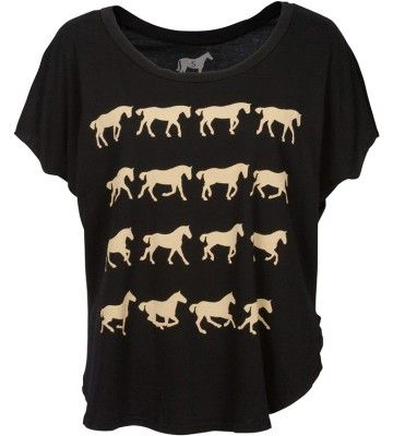 Danielle Demers for Tara Kiwi: Gaits of the Horse' Organic Cotton Split Tee available at www.tarakiwi.com $44.50