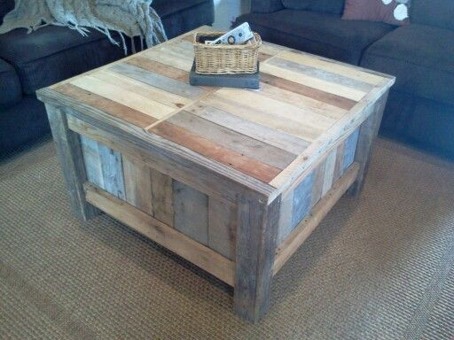 I made this coffee table out of varying pallet wood the for Coffee table made out of pallet wood