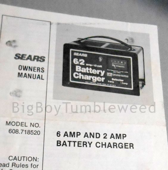 vintage owners manual sears battery charger for 6 amp   2 amp guide 608 718520 sears manuals sears manual battery charger engine starter sears 10/2 manual battery charger