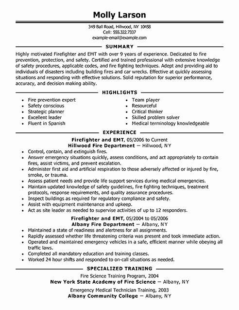 Emt Job Description Resume Luxury Firefighter Resume Examples Firefighter Resume Firefighter Jobs Resume Examples