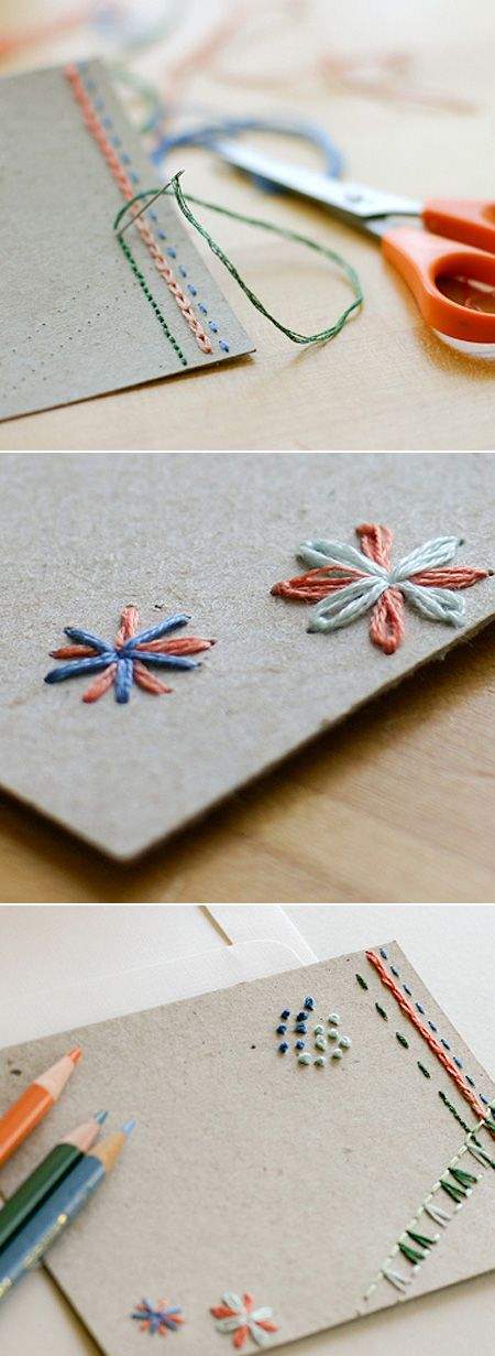 DIY hand embroidered cards Paper Embroidery / Papirbroderi