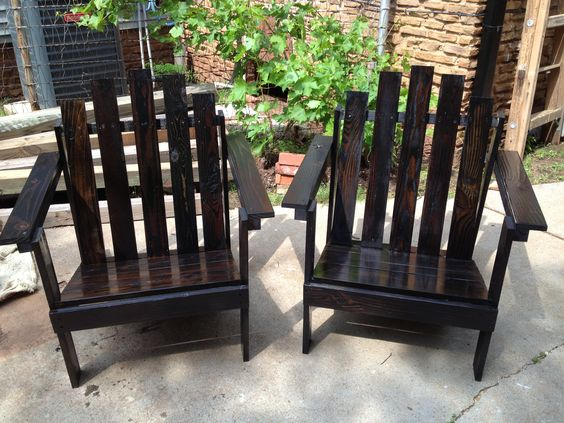 Ebony stained adirondack chairs from reclaimed wood. G Gallery OKC - Ebony Stained Adirondack Chairs From Reclaimed Wood. G Gallery OKC