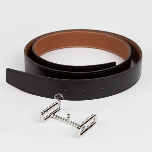 brighton knockoffs - Hermes Idem Belt in Black and Gold leather with Palladium Hardware ...