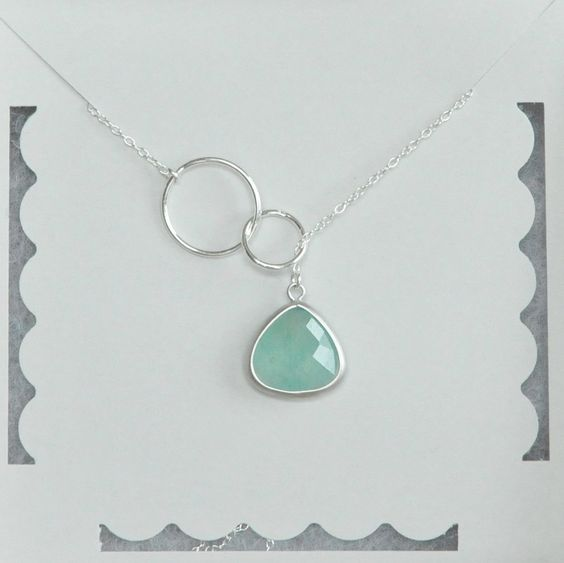 20% OFF, Infinity Necklace, Mint Gemstone, Lariat Necklace, Sterling Silver, Birthday Gift, Bridesmaid Gift, Christmas Gift by kyooziAccessories on Etsy https://www.etsy.com/listing/228856506/20-off-infinity-necklace-mint-gemstone