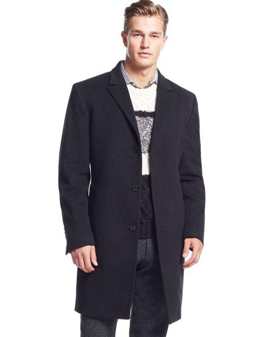 Calvin Klein Coat Solid Plaza Cashmere-Blend Overcoat