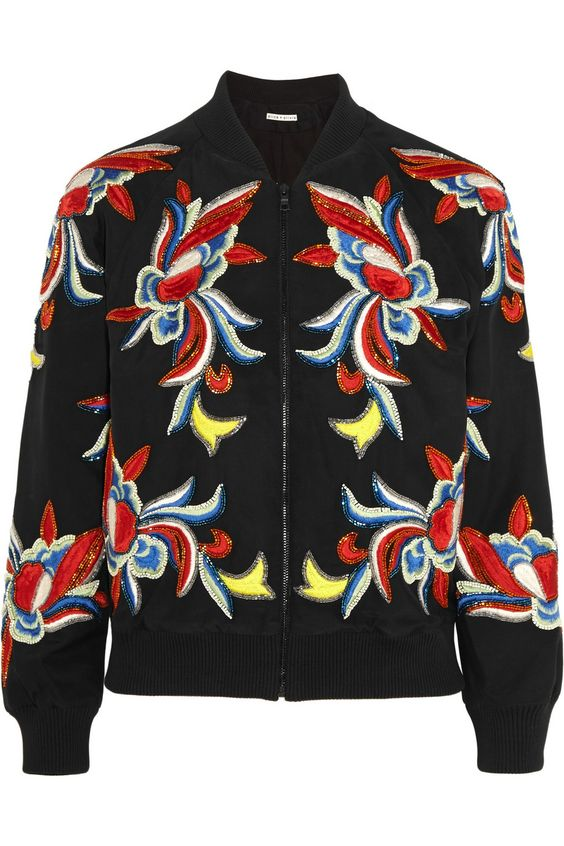 Alice + Olivia | Felisa embellished embroidered silk bomber jacket | NET-A-PORTER.COM