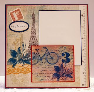 """Sleepy in Seattle: Supplies used are Stampin' Up. Page size is 8""""x8"""" with a base of Not Quite Navy, Riding Hood Red, and some Very Vanilla. Stamped the stamp from Postage Due in NQN and shaded it with some RHR and Sahara Sand. I really love how the back bicycle wheel continued on so perfectly from the flower. A happy accident. Spritzed with silver Smooch Spritz which gives it a lovely pearlescence. Designer Paper is the new Fan Fair. Sentiment is from Pedaling Past."""