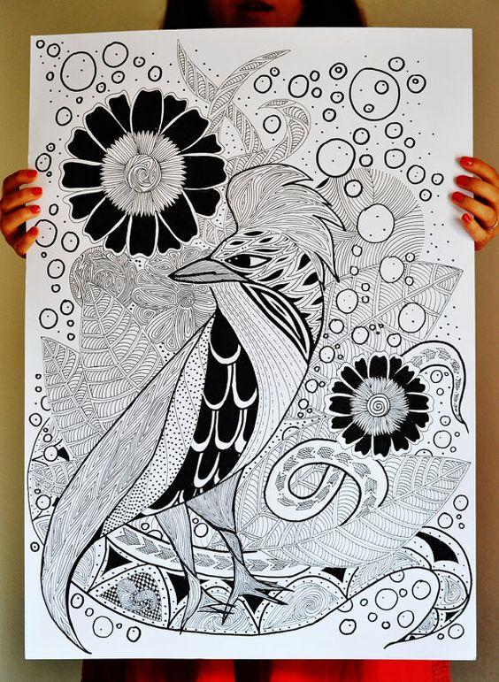 Illustrazione inchiostro  Uccello astratto in di RomeoJulietstudio, €49.00