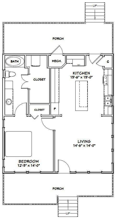 Excellent Floor Plans Guest House Plans One Bedroom House Cottage Floor Plans