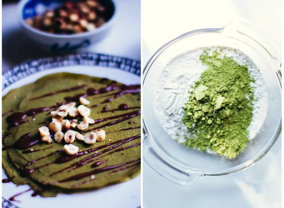 Matcha Crepes with a delicious chocolate and pistachio granache! Perfecto!