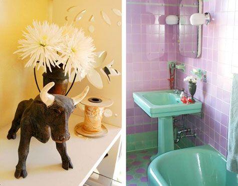 Mermaids purple and retro on pinterest for Green and purple bathroom ideas