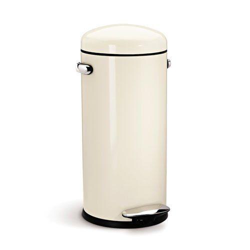 Amazon Com Simplehuman Round Retro Step Trash Can Cream Steel 30 Liter 8 Gallon Home Kitchen Simplehuman Trash Can Kitchen Trash Cans
