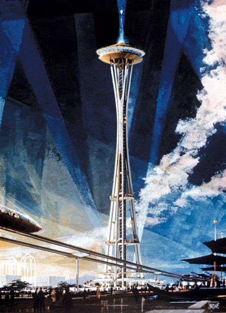 A poster created by artist Earle Duff used to promote Seattle's 1962 World's Fair; Image Credit: MOHAI (1965.3598.26.19).  Click through to read our commemorative story celebrating the 50th anniversary of the Space Needle and Seattle's World's Fair.