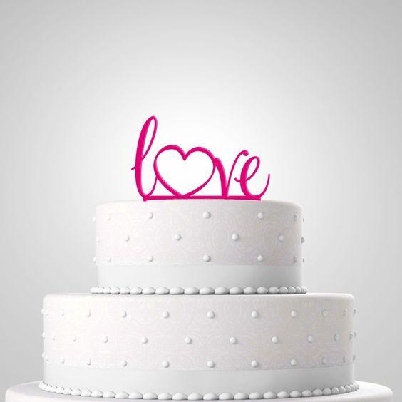 Cake Topper - Tortenfigur 'Love' pink von in due Der Hochzeitsshop auf DaWanda.com