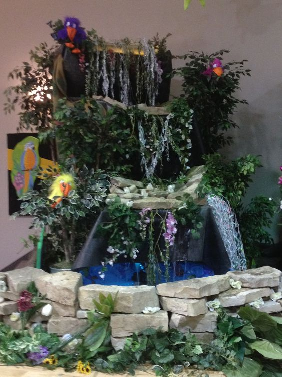 Waterfall on the alter at church for VBS.